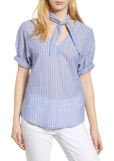 Velvet by Graham & Spencer Removable Neckerchief Pinstripe Cotton Blouse