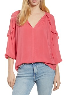 Velvet by Graham & Spencer Ruffle Shoulder Blouse