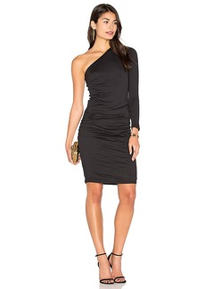 Velvet by Graham & Spencer Sheela One Shoulder Midi Dress in Black. - size L (also in M,S,XS)