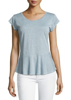 Velvet by Graham & Spencer Short-Sleeve Peplum Striped Top