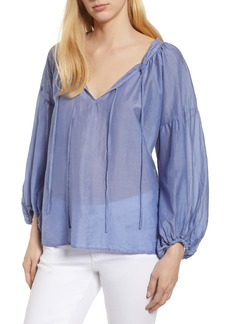 Velvet by Graham & Spencer Silk Cotton Voile Peasant Blouse