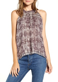 Velvet by Graham & Spencer Snake Print Metallic Thread Halter Top