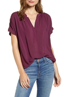 Velvet by Graham & Spencer Split Neck Short Sleeve Blouse
