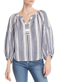 Velvet by Graham & Spencer Striped Balloon-Sleeve Peasant Top