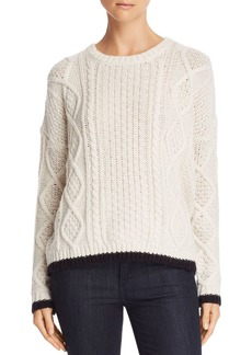 Velvet by Graham & Spencer Tipped Cable-Knit Sweater - 100% Exclusive