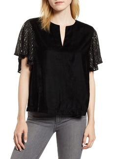 Velvet by Graham & Spencer Velvet Sequin Sleeve Top