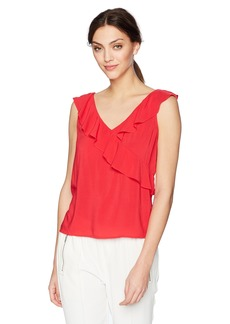 Velvet by Graham & Spencer Women's April Sleeveless Ruffle Surplice Blouse  XL