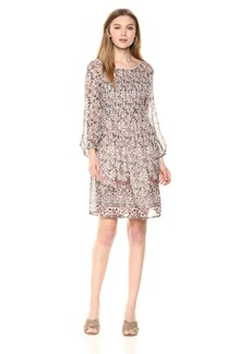 Velvet by Graham & Spencer Women's Ariana Printed Smocked Dress  M