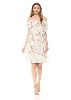 Velvet by Graham & Spencer Women's Bayler Floral Shortsleeve Peasant Dress  M