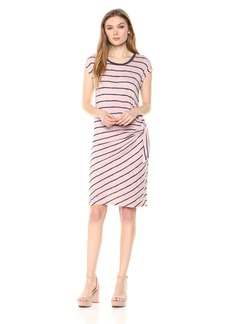 Velvet by Graham & Spencer Women's Bellamy Stripe Textured Shortsleeve Dress  M