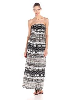 VELVET BY GRAHAM & SPENCER Women's Bengal Print Challis Strapless Maxi Dress