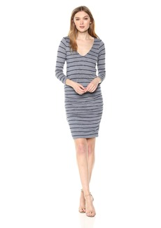 Velvet by Graham & Spencer Women's Briya Stripe Textured 3/4 Sleeve Dress  S