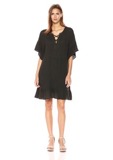 Velvet by Graham & Spencer Women's Bubble Gauze Laceup Dress  L