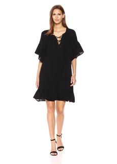 VELVET BY GRAHAM & SPENCER Women's Bubble Gauze Laceup Dress  M