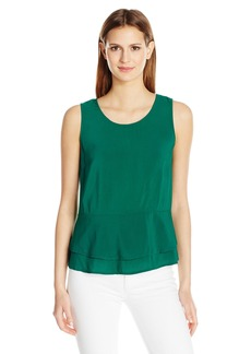 Velvet by Graham & Spencer Women's Challis Double Peplum Sleeveless Blouse Lawn M