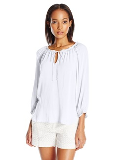 VELVET BY GRAHAM & SPENCER Women's Challis Gathered Neck Blouse