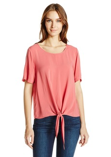 Velvet by Graham & Spencer Women's Challis Knot Front Shortsleeve Blouse  L