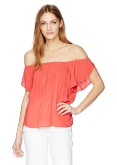 VELVET BY GRAHAM & SPENCER Women's Challis Off the Shoulder Blouse  M