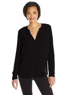 Velvet by Graham & Spencer Women's Challis Split Neck Blouse  XS
