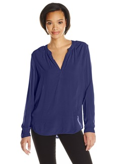 Velvet By Graham & Spencer Women's Challis Split Neck Blouse POSTMAN S