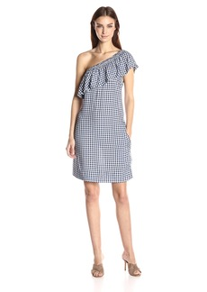 VELVET BY GRAHAM & SPENCER Women's Checks One Shoulder Dress  S