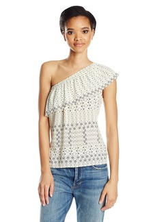 Velvet by Graham & Spencer Women's Corsica Print One Shoulder Top  L