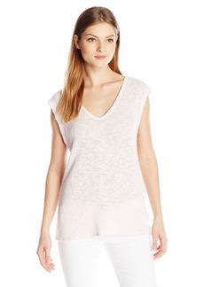 VELVET BY GRAHAM & SPENCER Women's Cotton Crochet Short Sleeve V-Neck Top