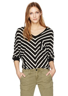 VELVET BY GRAHAM & SPENCER Women's Cotton Modal Stripe Dolman Top  XL