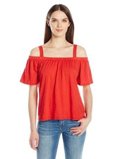 VELVET BY GRAHAM & SPENCER Women's Cotton Slub Off The Shoulder Tee  L