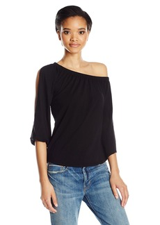 VELVET BY GRAHAM & SPENCER Women's Cotton Slub One Shoulder Top  L