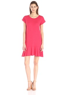 VELVET BY GRAHAM & SPENCER Women's Cotton-Slub Ruffle-Hem Dress