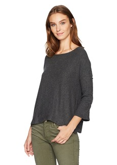 Velvet by Graham & Spencer Women's Cozy Rib Laceup Sleeve Pullover  S
