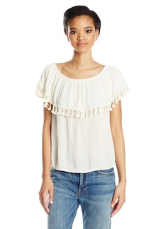 VELVET BY GRAHAM & SPENCER Women's Crinkle Gauze Off the Shoulder Tassel Top  XS