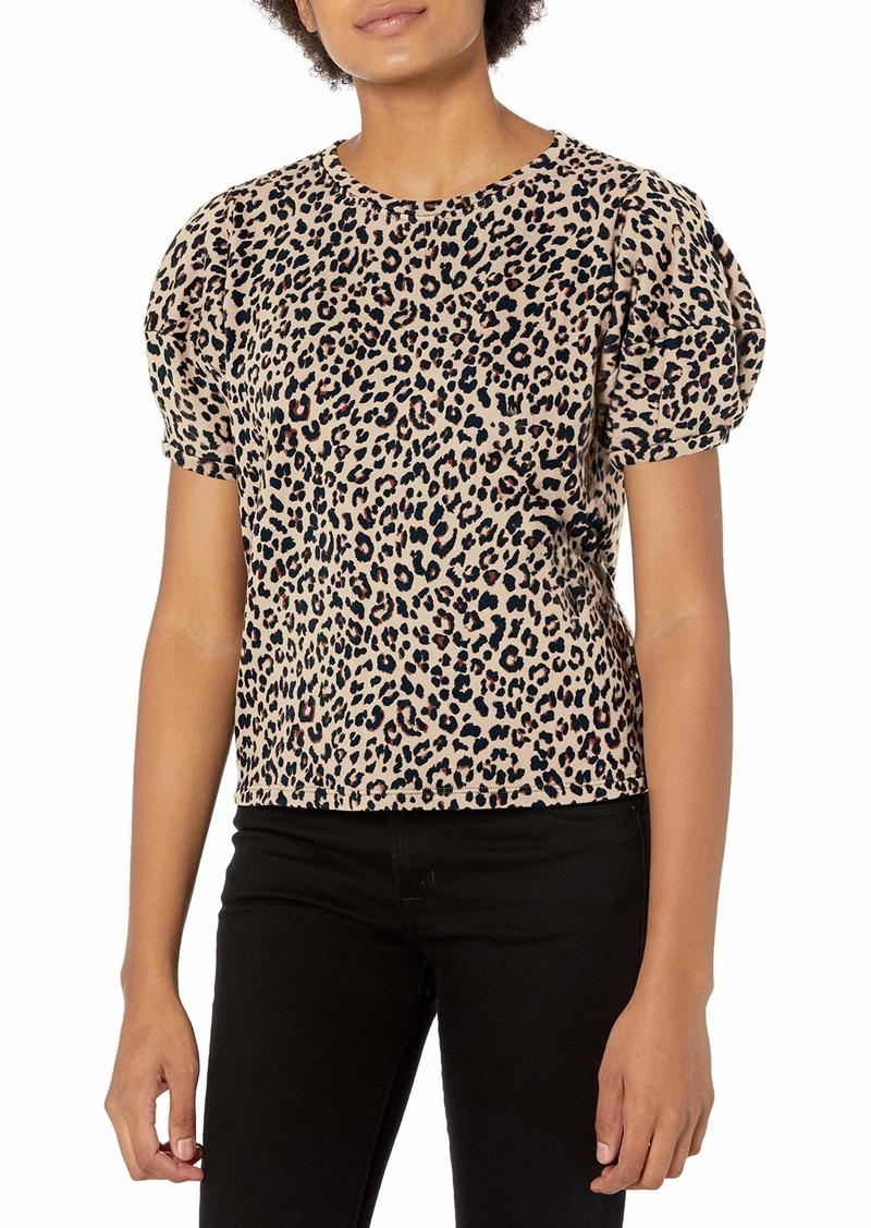 Velvet by Graham & Spencer Women's Dahlia Leopard Puff Sleeve Sweatshirt  L