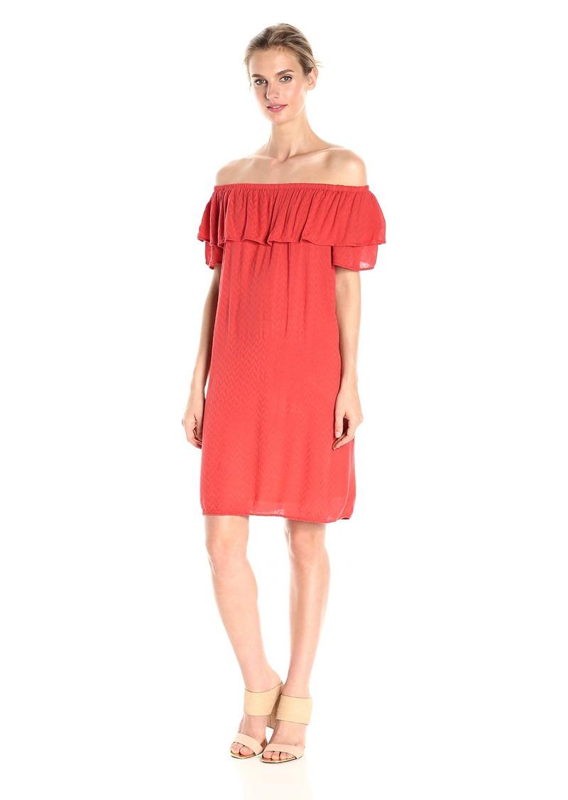 VELVET BY GRAHAM & SPENCER Women's Dobby Challis Off the Shoulder Dress  L
