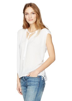 Velvet by Graham & Spencer Women's Dobby Challis Tie Details Shell Tank  M