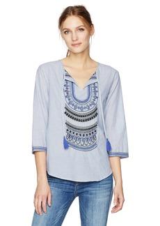 VELVET BY GRAHAM & SPENCER Women's Embroidered Cotton Stripe Blouse  M