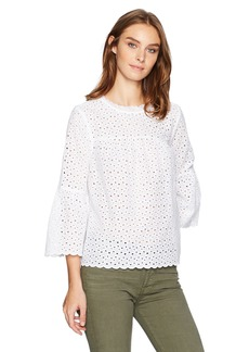 Velvet by Graham & Spencer Women's Eyelet Bell Sleeve Shirt  XS