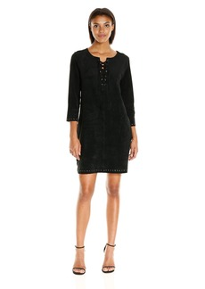 VELVET BY GRAHAM & SPENCER Women's Faux Suede Dress with Grommets  M