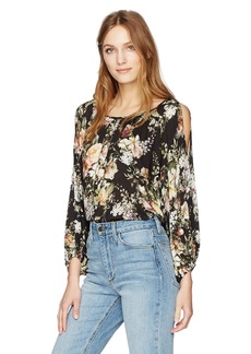 Velvet by Graham & Spencer Women's Floral Print Cold Shoulder Blouse Black XL