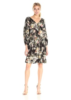 VELVET BY GRAHAM & SPENCER Women's Floral Print Peasant Dress  L