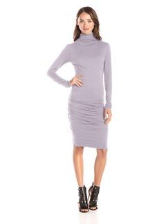 VELVET BY GRAHAM & SPENCER Women's Gauzy Whisper Knit Turtle Neck Long Sleeve Dress