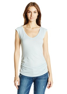 Velvet by Graham & Spencer Women's Gauzy Whisper Ruched Side V-Neck Top  S