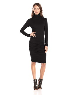 VELVET BY GRAHAM & SPENCER Women's Gauzy Whisper Turtleneck dress black L