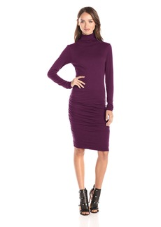 Velvet by Graham & Spencer Women's Gauzy Whisper Turtleneck Dress BlackBerry L