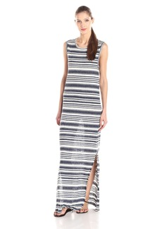 VELVET BY GRAHAM & SPENCER Women's Heather Stripe Linen Sleeveless Maxi Dress