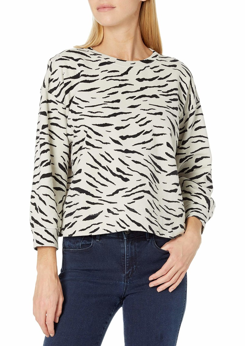 VELVET BY GRAHAM & SPENCER Women's Hilda Zebra Fleece Sweatshirt BEACH M