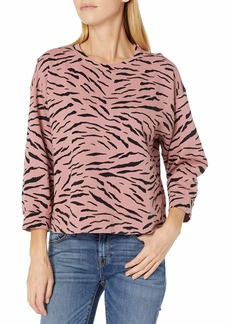 VELVET BY GRAHAM & SPENCER Women's Hilda Zebra Fleece Sweatshirt TAFFY XL