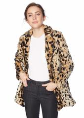 VELVET BY GRAHAM & SPENCER Women's Juliana Animal lux Faux Fur Jacket LEOPARD L