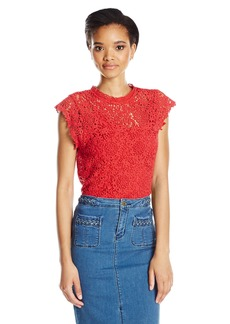Velvet by Graham & Spencer Women's Lace Capsleeve Blouse  S